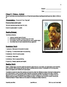 Worksheets Cesar Chavez Worksheet comprehension keys and questions on pinterest this lessonpack centers a biographical reading of e an american hero