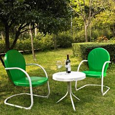 3-Piece Outdoor Patio Furniture Bistro Set in Green and White