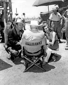 John Wayne, Howard Hawks & Angie Dickinson on the set of Rio Bravo