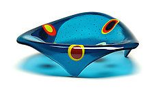"""Small Triangle Stepping Stone Bowl: Steel Blue by Ed Edwards (Art Glass Bowl) (3"""" x 11"""")"""