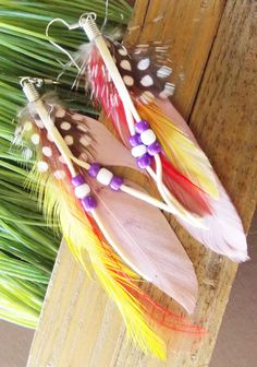Light Pink Red Yellow Polka Dot Feather Earrings with Beads Bohemian Jewelry for Women Teens Girls on Etsy, $9.95
