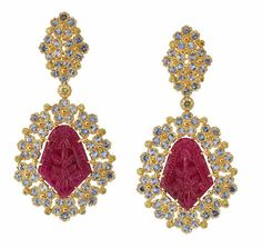Pendant earrings by Buccellati - yellow gold, diamonds