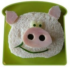Funky Lunch - creative food gallery - funny faves, no food food health for health Food Art For Kids, Cooking With Kids, Food Kids, Cooking Tips, Toddler Meals, Kids Meals, Sandwich Original, Cute Food, Good Food