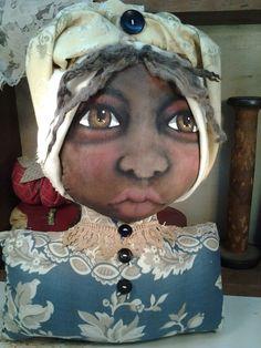 Primitive folk art Shelf sitter doll from Painted Heart Designs. Ebay.