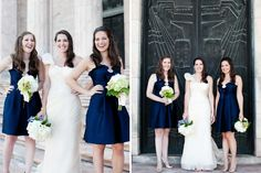 navy blue bridesmaid dresses - Joslyn Art Museum Wedding – Omaha,NE | Dana Damewood - Omaha Photographer