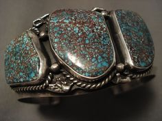 IMPORTANT VINTAGE NAVAJO MARK CHEE RED MOUNTAIN TURQUOISE SILVER BRACELET