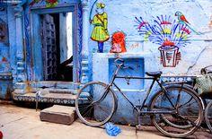 Art Print: Inde I by Nicolas Bialylew : Bike India, Namaste, India Street, India Culture, Visual Memory, Global Design, Incredible India, Public Art, Urban Art