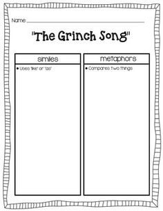 Listen to The Grinch Song and read the included lyrics with your students.   Also included is a t-chart for students to find the similes and the metaphors in the song. Also is a worksheet where students can create their own verse to the song where they must include one simile and one metaphor.