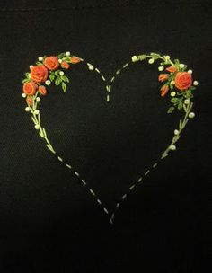 nice - minimalist heart with bullion stitch roses #badges
