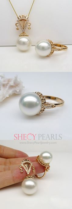 pearl jewelry set -  ring and pendant