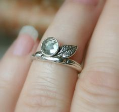 Branch Ring...Sterling Silver Band with Green Amethyst Prasiolite...Engagement Wedding Promise