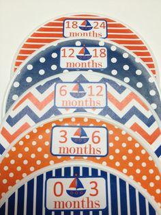 5 Custom Baby Closet Dividers - Navy Orange Nautical Sailboats - Baby Boy Shower Gift Nursery - Custom Nautical Baby Closet Organizers