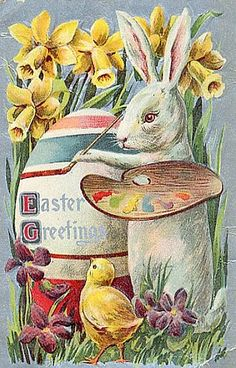 Shop Vintage Easter Bunny Artist Painting an Egg, ZSSG Holiday Postcard created by Sandyspider. Personalize it with photos & text or purchase as is! Easter Greeting Cards, Vintage Greeting Cards, Vintage Postcards, Easter Art, Easter Bunny, Easter Eggs, Decoupage, Bunny Painting, Artist Painting