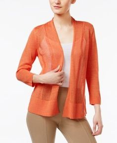 Alfani Petite Mixed-Stitch Open-Front Cardigan, Only at Macy's - Orange P/XS