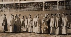 July 17, 1915 - Australian nurses boarding a ship at Melbourne for the Front
