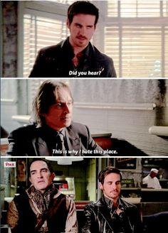 """This is why I hate this place"" - Hook, Rumple ((lol, those two!)) and Isaac #OnceUponATime"