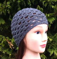 This light and airy beanie was crocheted by hand using 100% cotton yarn in grey. Measures: 8 inches from crown to rim edge 20-22 inch circumference Suitable for most adults.  *Item should be gently hand washed and laid flat to dry for best results and longer life.