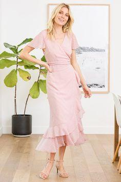 Blush Pink Dresses, Pink Midi Dress, Maxi Wrap Dress, Dot Dress, Ruffle Dress, Bodice Top, Dresses For Work, Summer Dresses, Large Size Dresses