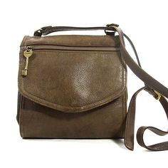 a40117f05e2a Fossil Purse Vintage 90s Medium Size Distressed Brown Leather Hobo Bag with  Long Crossbody Shoulder Strap