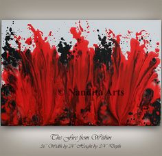 Art Painting, Urban Abstract Painting, RED Fire Art Decor, Wall Art, Canvas Painting, ORIGINAL Home Decor, Colorful Modern Art by Nandita