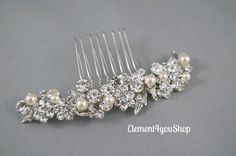 Bridal rhinestone comb Wedding hair comb by Element4YouShop