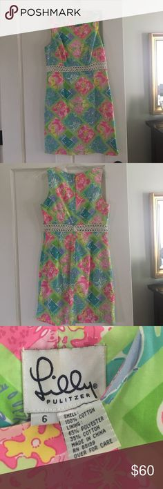 Lilly Dress Bright, colorful vintage white label Lilly Pulitzer shift style dress. Size 6, fully lined with open weave detailing below bust. This one REALLY pains me to re-Posh, as it is the classic summer compliment getter! Lilly Pulitzer Dresses