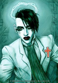 "This pic features the newest image of Marilyn Manson (from the video ""Personal Jesus"", a cover of Depeche Mode's song). I've added the little red cross on his chest and the glowing thorn ..."