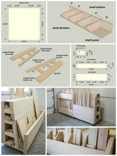 DIY Rolling Lumber & Sheet Goods Cart :: Finding a place to store lumber and sheet goods can be challenging. This lumber cart keeps them all organized with shelves to store long boards, upright bins for shorter pieces, and a large area to hold sheet Lumber Storage Rack, Plywood Storage, Lumber Rack, Diy Garage Storage, Storage Cart, Storage Ideas, Tool Storage, Woodworking Workshop, Woodworking Shop