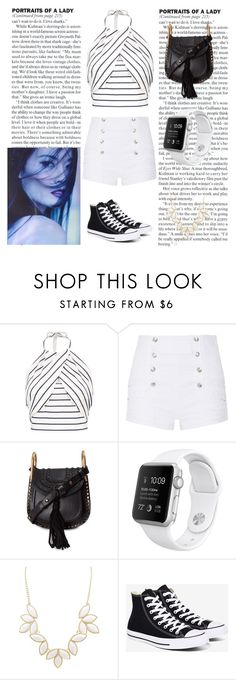 """Untitled #199"" by tjoyreeves1 ❤ liked on Polyvore featuring Pierre Balmain, Chloé, Charlotte Russe, Converse and stripedshirt"