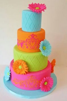 Want this for my birthday! #cake #bright #flowers