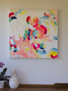'The Luckiest' - Jen Sievers - Contemporary New Zealand abstract artist. Acrylics on stretched canvas. 61cm x 61cm. Bright, fresh and optimistic. Available for purchase for NZ$600.