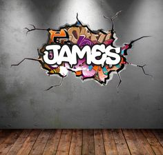 Fonts Alphabet Discover Personalized / Customized Name Graffiti Wall Decals Stickers Brick Concrete Cracked Hole Printed Mural Colour Adhesive Childrens Wall Decals, 3d Wall Decals, Wall Murals, Wall Art, Removable Wall Stickers, Street Graffiti, Murals Street Art, Graffiti Wall, Graffiti Bedroom