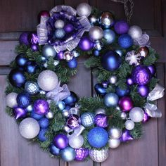 Purple Blue and Silver Dream Wreath Holiday Wreath - Christmas Wreath on a Pine Garland Wreath