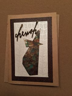 Cherish card.  Abstract shape made with foil tape and then distressed with alcohol inks and acrylics