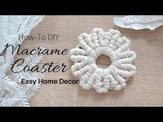 coasters 🏵️ How to DIY Macrame Flower Coaster Simple & Easy Tutorial Macrame Cord, Macrame Knots, Micro Macrame, Macrame Supplies, Macrame Projects, Sewing Projects, Diy Projects, Macrame Tutorial, Flower Tutorial