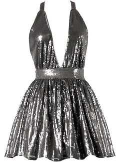 Marilyn Shimmer Dress: Features a chic halter neckline with ribbon ties behind the neck, plunging V-neckline, thousands of sparkling sequins covering the entire dress, and a flirty A-line skirt to finish.