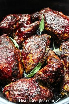 This slow cooked BBQ chicken is easy and delicious. The tender chicken has tangy and sweet sauce with a hint of spice is a taste of summer year round! Slow Cooker Bbq, Slow Cooker Chicken, Slow Cooker Recipes, Crockpot Recipes, Chicken Recipes, Cooking Recipes, Slow Cooking, Bbq Chicken Thighs Crockpot, Dinner Crockpot