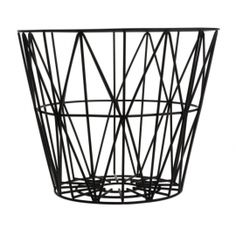 The design & symmetry of these geometric triangles makes this wire basket by Ferm LIVING, a stylish solution for storage or as a small table. Black Wire basket by Ferm Living, can buy a wooden top to turn into a cool table too! Black Wire Basket, Large Wire Basket, Wire Basket Storage, Wooden Basket, Wire Storage, Large Baskets, Grand Noir, Iron Wire, Shopping