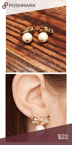 Kate Spade bow pearl earrings Kate Spade golden bow with pearl drop. Pearl is not natural, but the earrings are 100% authentic Kate Spade. **size reference photo from Kate Spade** kate spade Jewelry Earrings