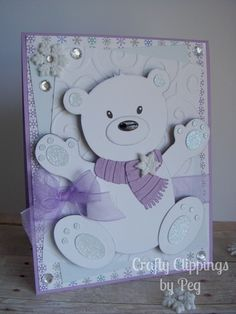 Winter Polar bear christmas card. SVG by Too cute by Jessica and adorable paper by doodlebug