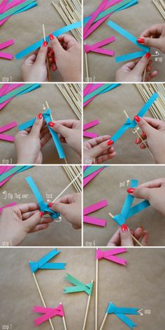 Use these for next bday party: Paper ribbon flags DIY Baby Crafts, Diy And Crafts, Arts And Crafts, Papier Diy, Mini Flags, Paper Ribbon, Diy Ribbon, Blue Ribbon, How To Make Paper