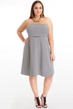 Plus Size Mya Strapless Striped Dress | Fashion To Figure