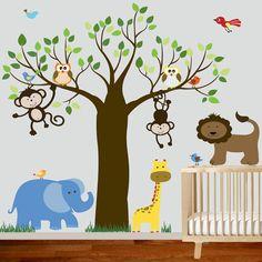 Childrens Wall Decal   Jungle Safari Tree Monkeys by wallartdesign, $150.00