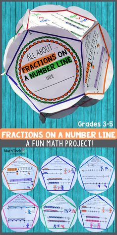 Review fractions on a number line with this FUN dodecahedron project! This activity is perfect to complete as a fun end of unit fractions assessment, fun review project, or end of the year activity. RECORDING SHEET included!