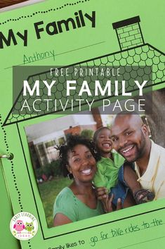 Find activities and ideas for your My Family or All about Me theme unit or lesson plans in your preschool or pre-k classroom. Kids can draw pictures or add a photo of their family on this free printable activity sheet. Use as a take-home activity to get parents involved. Display on the bulletin board or bind all your students' pages together to make a class book to share at circle time or leave in your class library. Use at Thanksgiving or during the first week too Preschool Lesson Plans, Preschool Class, Free Preschool, Kindergarten Classroom, Phonemic Awareness Activities, Language Activities, Hands On Activities, Literacy Activities, Class Books