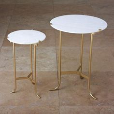 THE WELL APPOINTED HOUSE - Luxury Home Decor- Pile Table in Polished Brass with a White Marble Top - End Tables & Sofa Tables - Furniture #Furniture #interiordesign #redecorating #decorate #homedecor