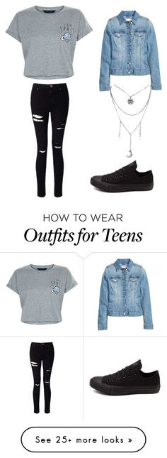 """Denim Jacket Outfit"" by nrettura on Polyvore featuring New Look, Miss Selfridge, Converse, denimjackets and WardrobeStaples"