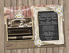 Rustic, Daisy, Burlap and Lace Wedding, Invitation, Chalk Board, Printable, Digital File Personalized, 5x7 on Etsy, $15.00