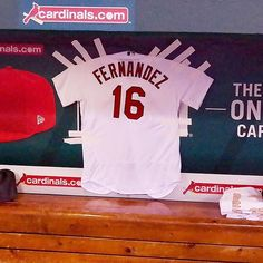 Aledmys Diaz has hung a Jose Fernandez  STLCards jersey in the dugout for  tonight s game 9b34955cd