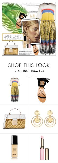 """How to Style a Multicolored Striped Dress with Black Velvet Sandals and a Straw Bag for Travel to the Island of Santorini, Greece"" by outfitsfortravel ❤ liked on Polyvore featuring Marco de Vincenzo, Valentino, MICHAEL Michael Kors, Balmain, Kenneth Jay Lane, Chanel and Clarins"